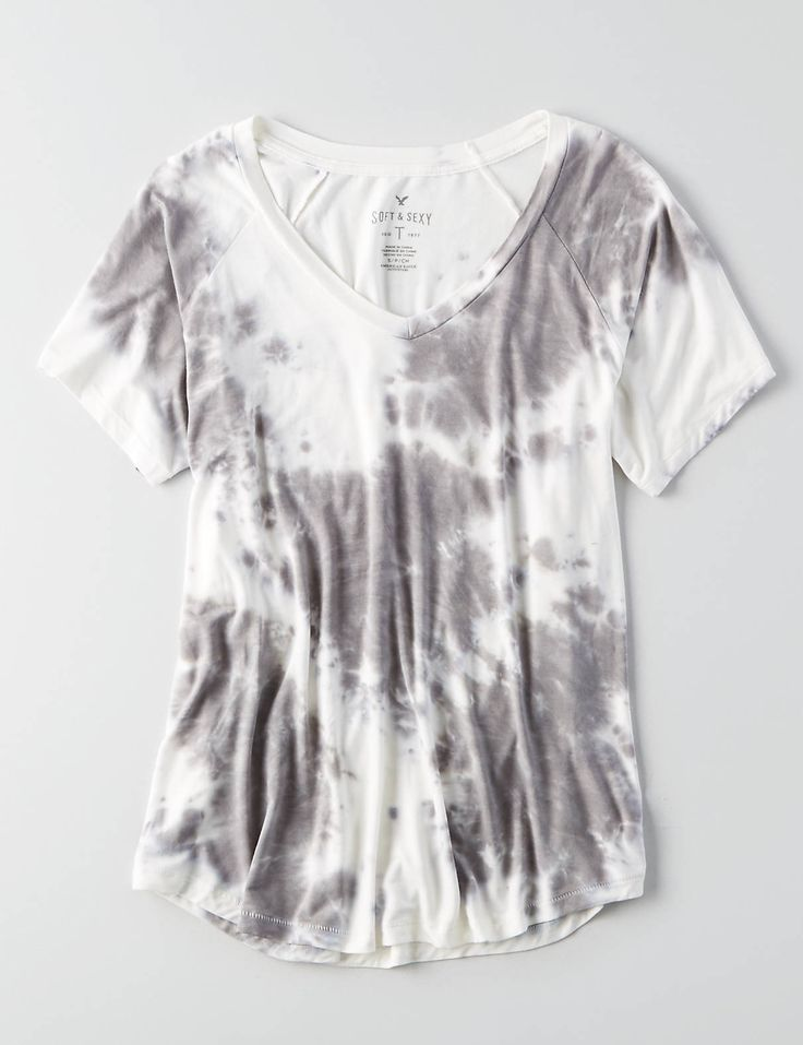 AEO Soft & Sexy V-Neck Favorite Tie-Dye T-Shirt , Burgundy | American Eagle Outfitters