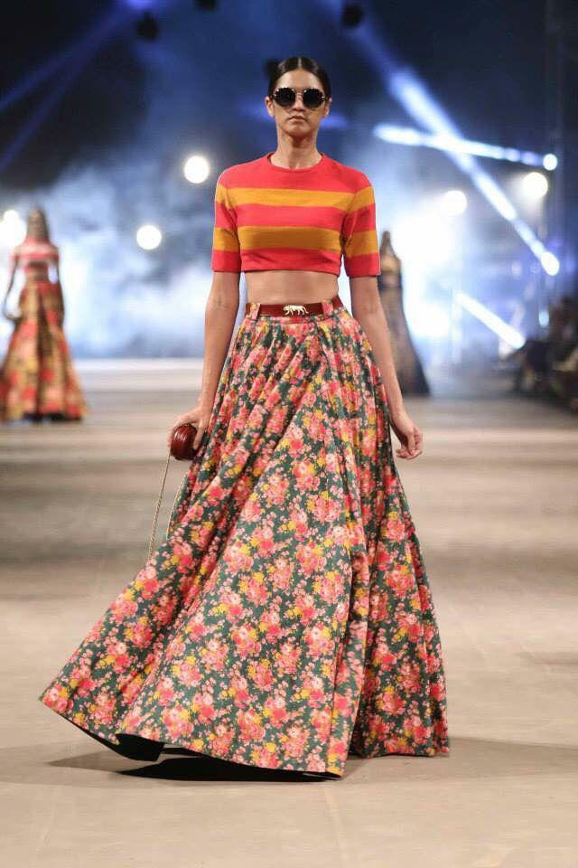 Gotta love the blouse...bold stripes with floral skirt  Lakme Fashion Week 2015 Sabyasachi