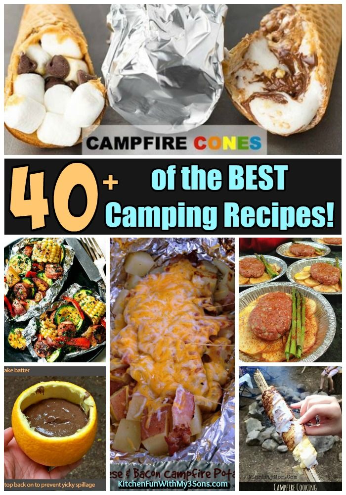 Over 40 of the BEST Camping Recipes - everything from Tin Foil Packets, Meals on a Stick, Campfire Breakfast, Dinners, Desserts, S'mores, and more!