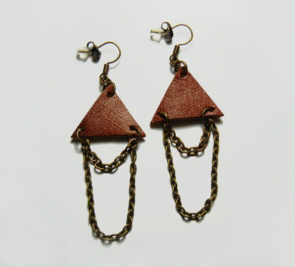 Brown Leather Triangle Bronze Chains Earrings by FoxliciousDesign on Etsy