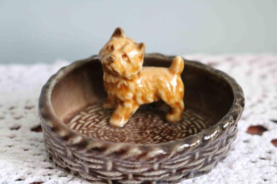 Wade Dog Cairn Terrier Puppy In A Basket by JaneAustenInspired