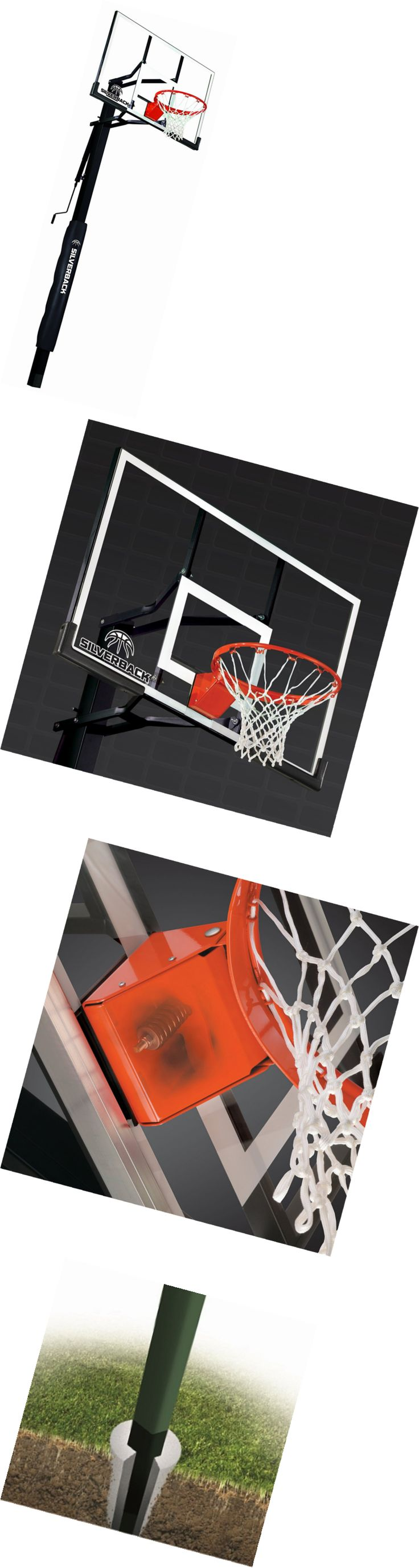 """Backboard Systems 21196: Silverback 54"""" In-Ground Basketball System With Tempered Glass Backboard -> BUY IT NOW ONLY: $700.97 on eBay!"""