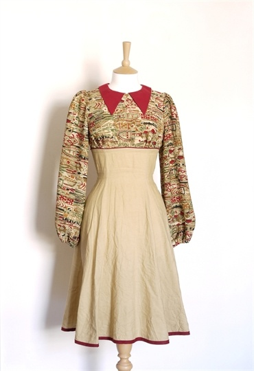 Camel and Wine Red Aztec Print Tea Dress