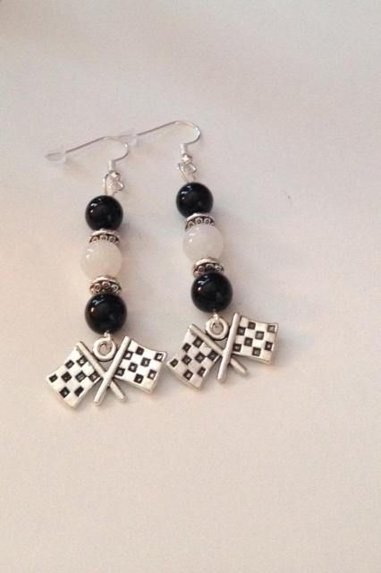 Checkered Flag Earrings Jewelry Nascar Inspired Black And White