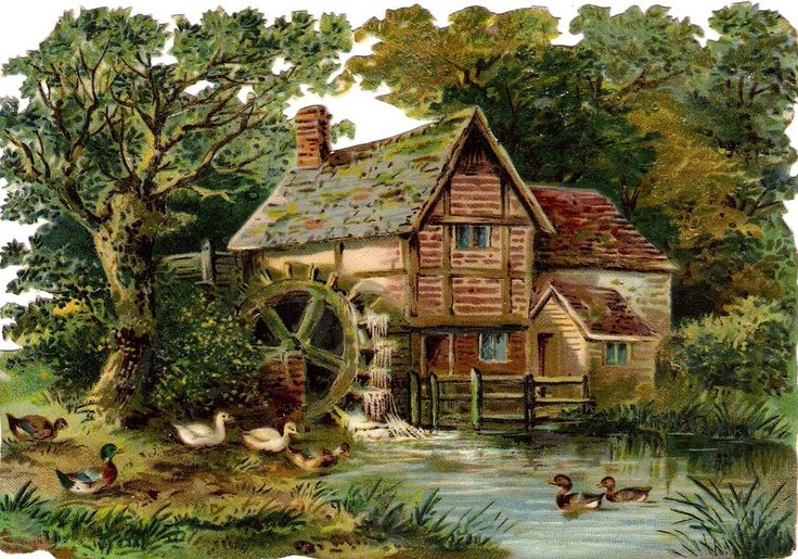 Oblaten Glanzbild scrap die cut chromo Mühle mill 16,8 cm landscape Haus house
