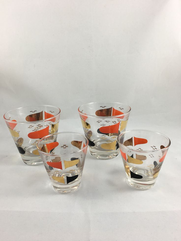 Vintage Barware, Orange, Black and Gold, Mid Century Modern Bar Glasses, Set of 4 - Two Sizes, Retro Cocktail Glasses Set, Atomic Glassware by CapeCodModern on Etsy
