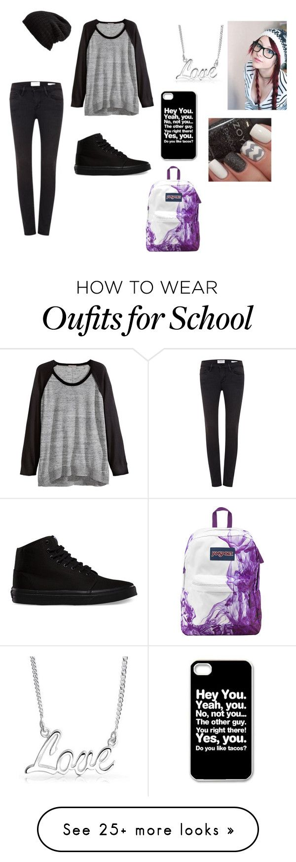 """my school outfit- Ashley"" by lauren2900 on Polyvore featuring Frame Denim, H&M, Bling Jewelry, Free People, Vans and JanSport"