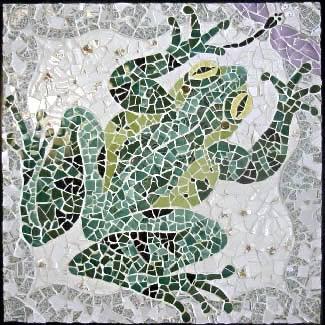 Glass Mosaic Frog irirdescent jade