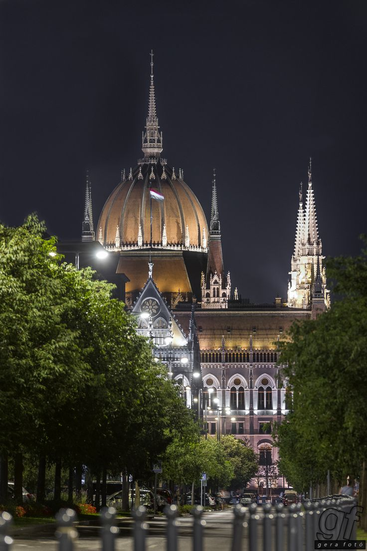 Hungarian Parliament from northern side - This photo shows the rarely seen side of the Hungarian Parliament by night.