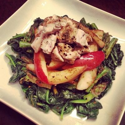 Ripped Recipes - Sauteed Apple, Asparagus and Spinach Chicken Salad - 4 ingredients of pure amazement! Full if protein and so delish!