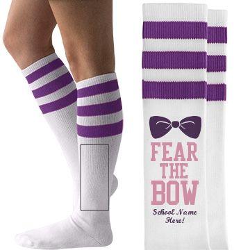 Fear the Bow Cheerleader Unisex American Apparel Striped Knee-High Socks #cheer #cheerleading