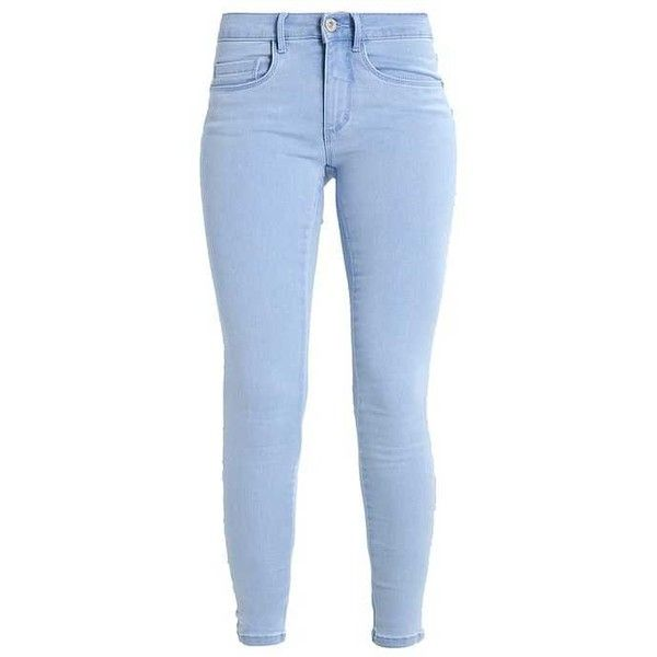 ONLROYAL Jeans Skinny Fit light blue denim ZALANDO ❤ liked on Polyvore featuring jeans, skinny fit denim jeans, petite denim jeans, light blue denim jeans, super skinny jeans and petite jeans