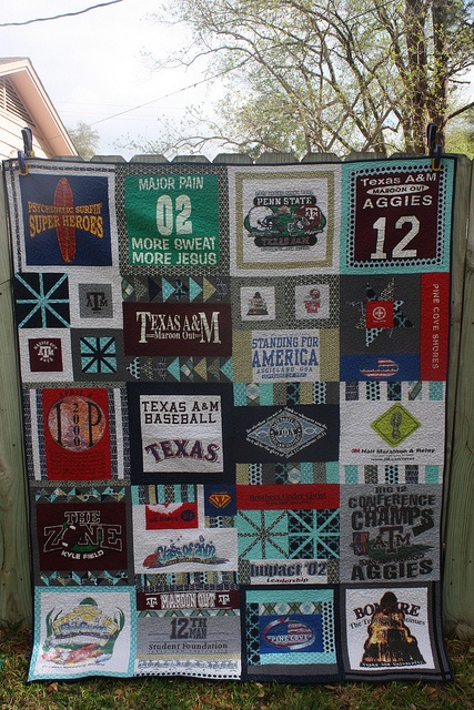 I will be making a t-shirt quilt like this one with all my aggie shirts after I graduate