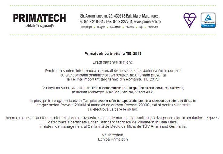 Primatech: Invitatie la TIB 2013!