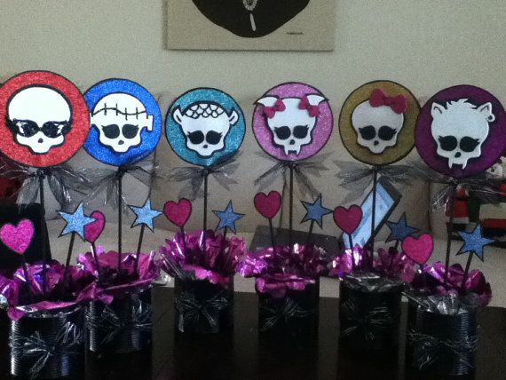 Monster High Birthday Party Centerpieces Set Of 6 By BellaJordan, $120.00