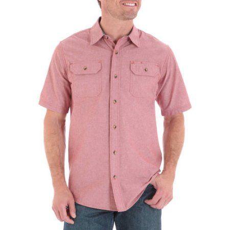 Wrangler Big Men's Short Sleeve Shirt with Pencil Pocket, Size: 3XL, Brown
