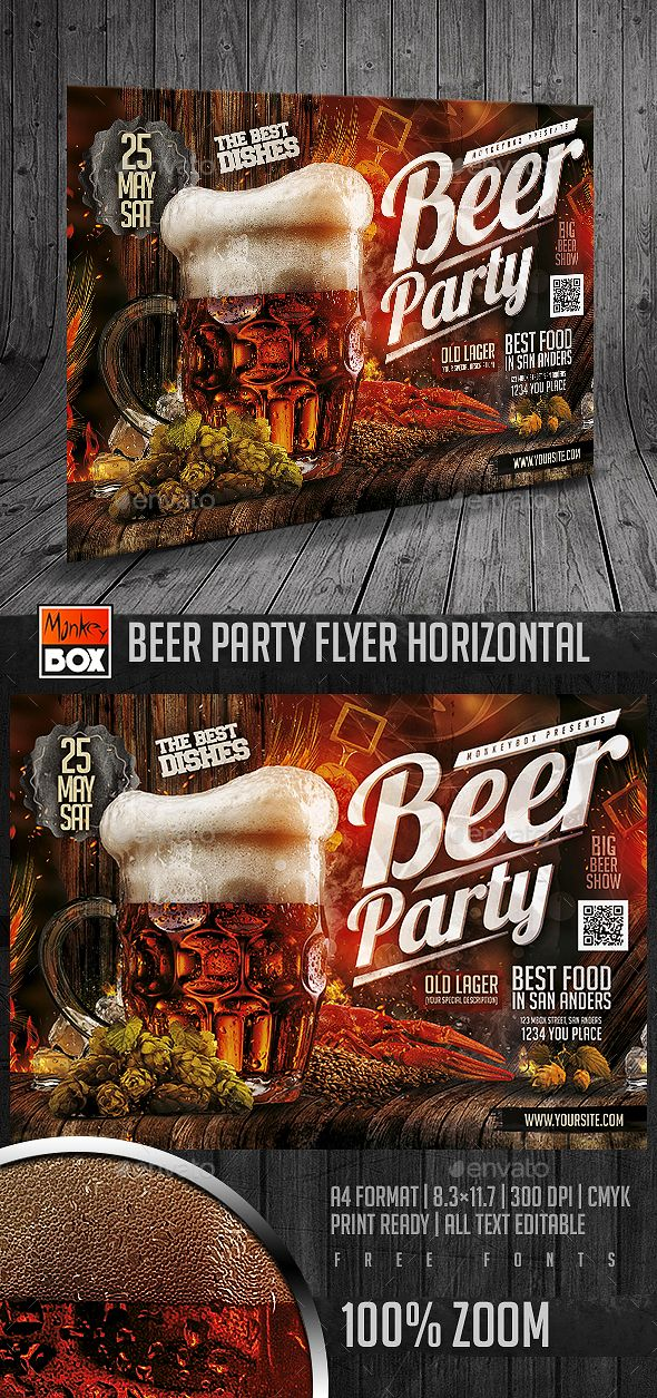 Beer Party Flyer Horizontal Template PSD. Download here: http://graphicriver.net/item/beer-party-flyer-horizontal/15922126?ref=ksioks