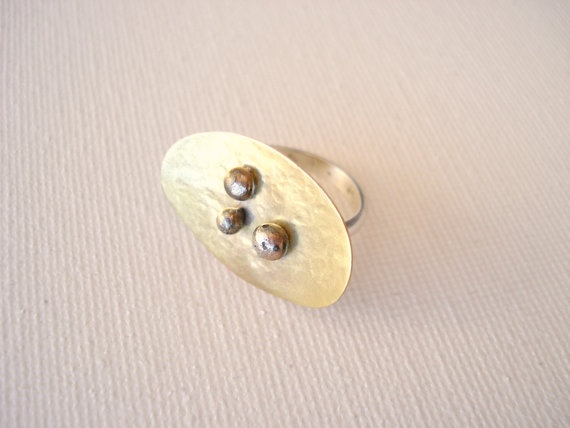 Mixed metal brass and sterling silver handmade by PenelopeStudio, €22.00