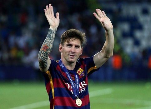 Lionel Messi of Barcelona waves to the supporters following the UEFA Super Cup match between Barcelona and Sevilla FC at Dinamo Stadium on August 11, 2015 in Tbilisi, Georgia.