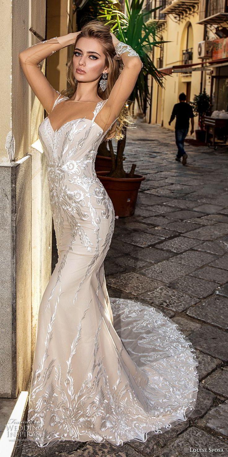 louise sposa 2018 bridal long sleeves illusion bateau sweetheart neckline full embellishment elegant fit and flare wedding dress sheer button back chapel train (23) mv -- Louise Sposa 2018 Wedding Dresses