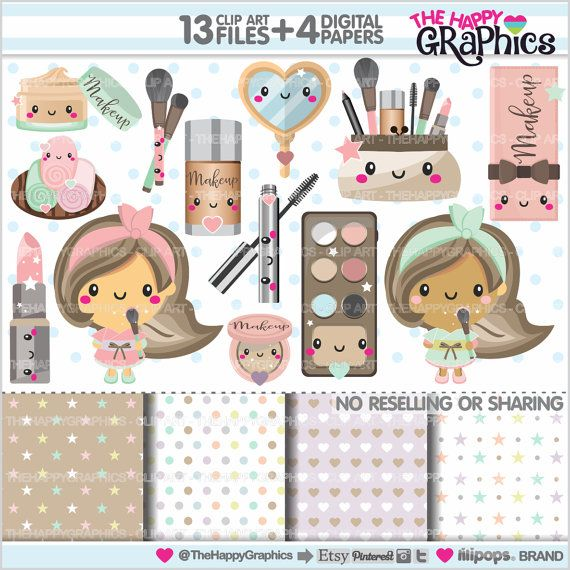 Makeup Clipart, Makeup Graphics, set for all your projects & ideas. Graphics and more kawaii clipart pack printable.  ★PERSONAL AND SMALL