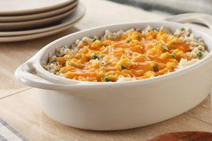 Super Easy Tuna Casserole Recipe - Kraft Recipes. Add Crumbled Potato chips instead of rice. So Good!