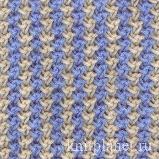 Двухцветный узор № 1 - Узоры спицами: двухцветный узор, как связать узор спицами, схема вязания двухцветного узора