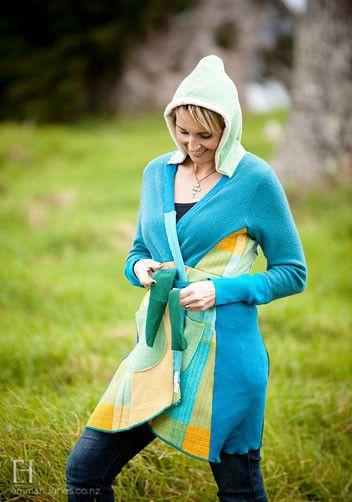 Hoodie Sweater coat, upcycled winter colourful fashion. Waiheke Island, New Zealand. hekedesign.com
