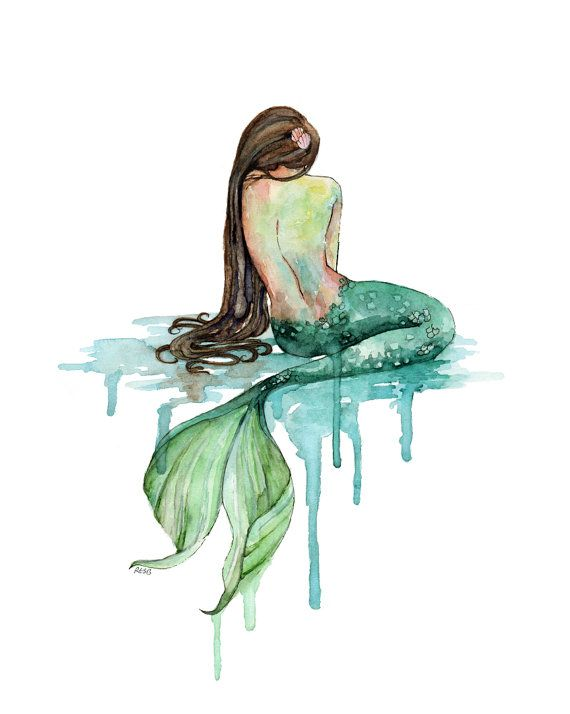 "XLARGE Mermaid Painting – Print titled, ""The Mermaid"", Beach Decor, Mermaid Tail, Mermaid Print, Mermaid Wall Art, Watercolor print, Beach"