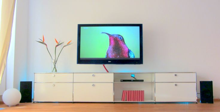"""Set in our Living Room -  usm haller rack (metal, white); Senses lamp with handblown glas; 50"""" LG TV and Samsung blue ray player; Clarity monster one loudspeaker; strelitzia flowers"""