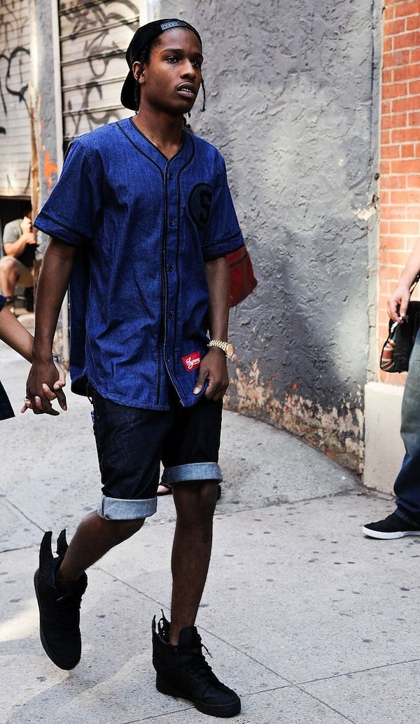 A$AP Rocky x Jeremy Scott Sneakers and Supreme Baseball jersery - I wish I could pull this off :(
