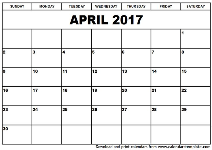 April 2017 calendar template calandars pinterest for Forever calendar template