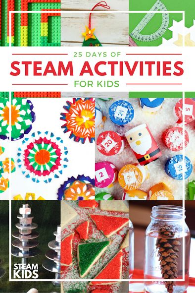 25 Christmas STEAM Activities for Kids! Build Christmas trees out of nuts and bolts, paint tie dye snowflakes and more. Perfect for STEM centers or science projects this winter!