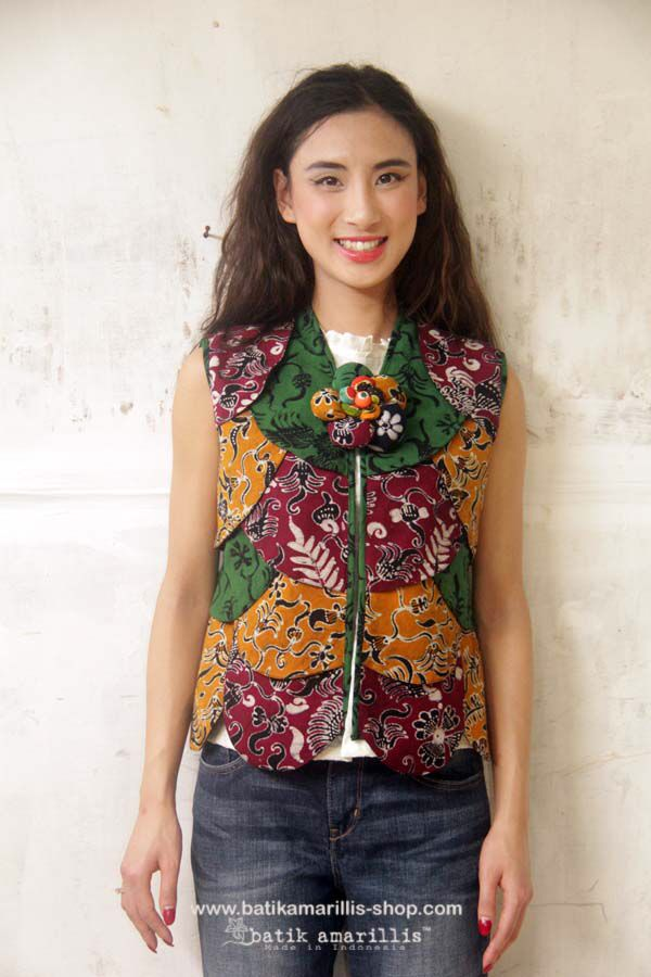 Batik Amarillis's petit Plume  Vest in hand drawn batik Gedog Tuban of Indonesia  this super unique collection is uniquely & meticulously hand crafted individually ,features over lapping patchwork that looks like multi color Feather.