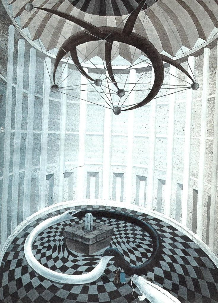"Antoni Boratyński illustration for ""The Never Ending Story"", 1987."