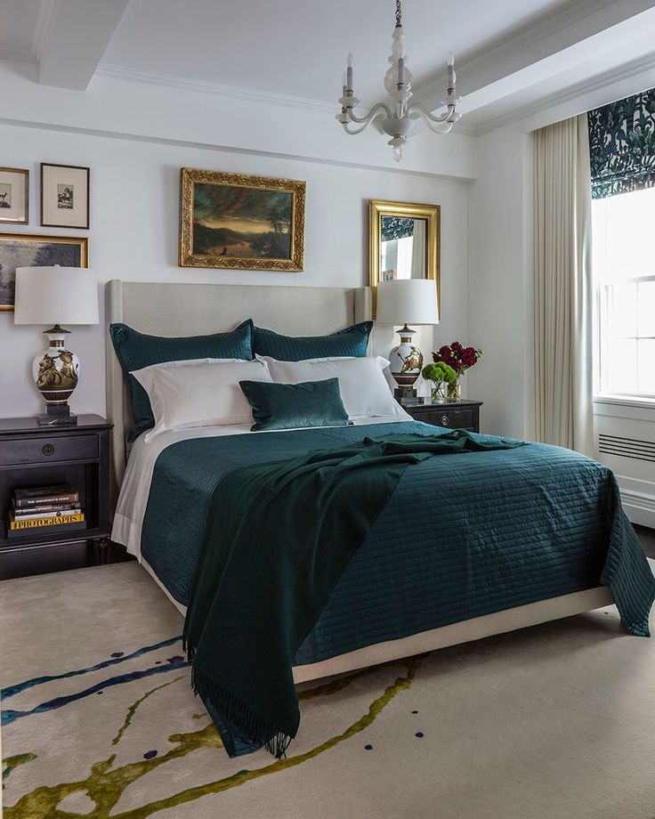 A deep turquoise shade is introduced in the master bedroom, which features a custom rug by Tai Ping; the Parzinger lamps—long coveted by the designer—were scored at an antiques store in Sag Harbor. A challenge for Leifer was keeping his own home consistent with the rest of his portfolio while staying on budget, so he got creative. Here, he opted for a faux Roman shade in a luxurious Hermès fabric, in lieu of a fully functioning iteration.