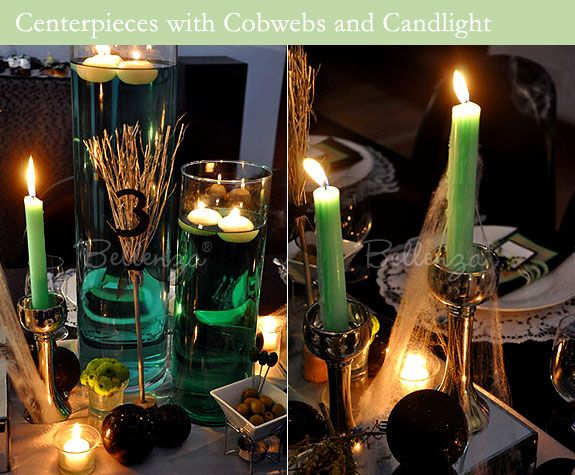 halloween table candle accents floating candles in cylinders filled with green tinted water