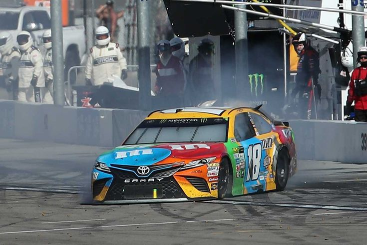 At-track photos: Las Vegas weekend Sunday, March 12, 2017 Kyle Busch's No. 18 Joe Gibbs Racing Toyota is filled with smoke after it skidded onto pit road following contact with Joey Logano's No. 22 Team Penske Ford. Photo Credit: Getty Images Photo: 7 / 71