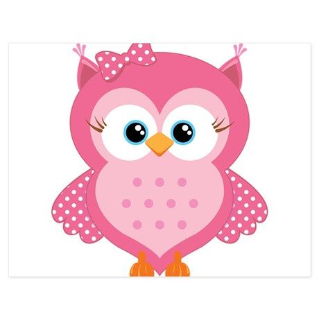 Sweet Pink Cartoon Owl 5.5 x 4.25 Flat Cards