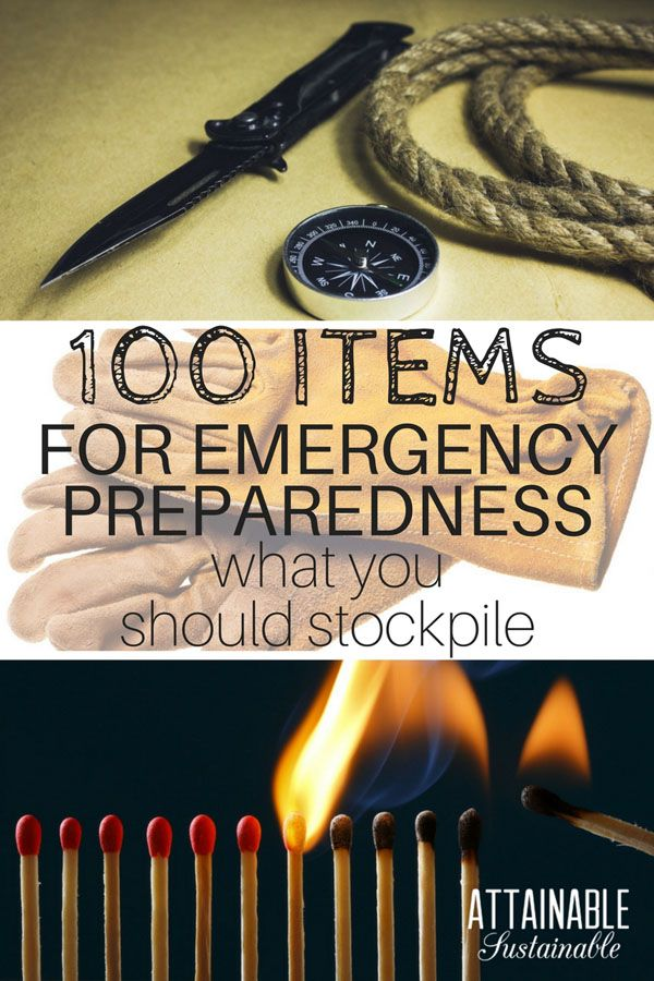 Whether natural disaster or economic collapse, being prepared is key to survival. This list of 100 items to stockpile is a good place to start when gathering emergency supplies. Having a stockpile of emergency supplies on hand can save you a lot of heartache in case the worst happens. #preparedness #emergency #prepping
