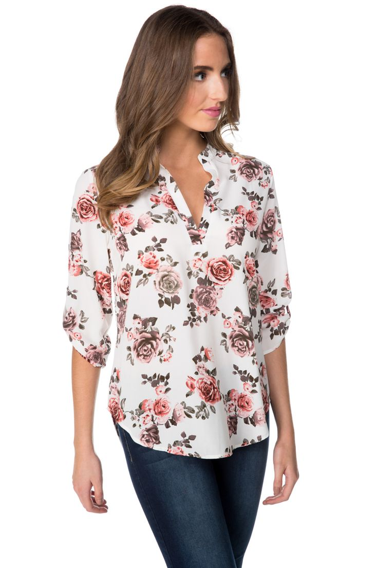 Floral Poly Crêpe Blouse with Roll-Up Sleeves