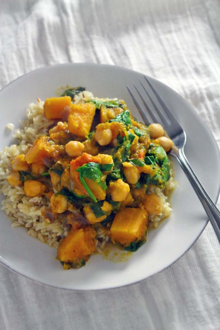 Spicy Moroccan Butternut Squash, Chickpea, and Spinach Stew