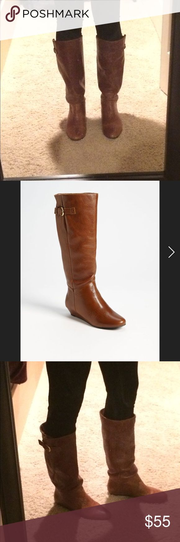 Size 7.5 Steve Madden INTYCE Brown Leather Boot Steve Madden INTYCE leather boots. Popular style riding boots in like new condition. High quality leather that lasts years (I've had a different pair going on 6). They have light wear on the back of one of the heels (pictured) but still in great condition. Low wedge heel is comfortable for all day wear. Let me know if you have questions and thanks for looking! Steve Madden Shoes