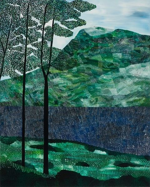 Sally Ross trees lake mountain 2012 oil on linen 100 x 80cm | S a l l y R o s s