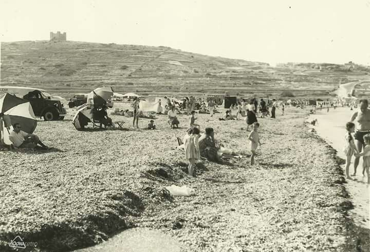 1950 day at the beach, Ghadira - Mellieha, Malta