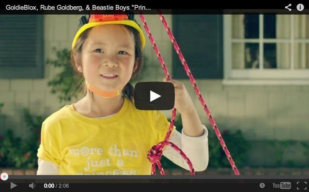 工学原理について学べる女の子向けのブロック製品をつくる新興の玩具メーカー「Goldibloxのプロモーション動画。「少女向け工学ブロック」を宣伝するピタゴラ動画が人気。