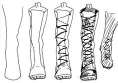 how to draw combat boots step by step - Google Search