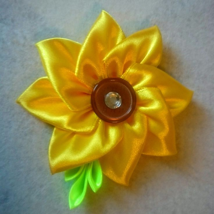 Girasole kanzashi sunflower spilla fermaglio fermacapelli bimba