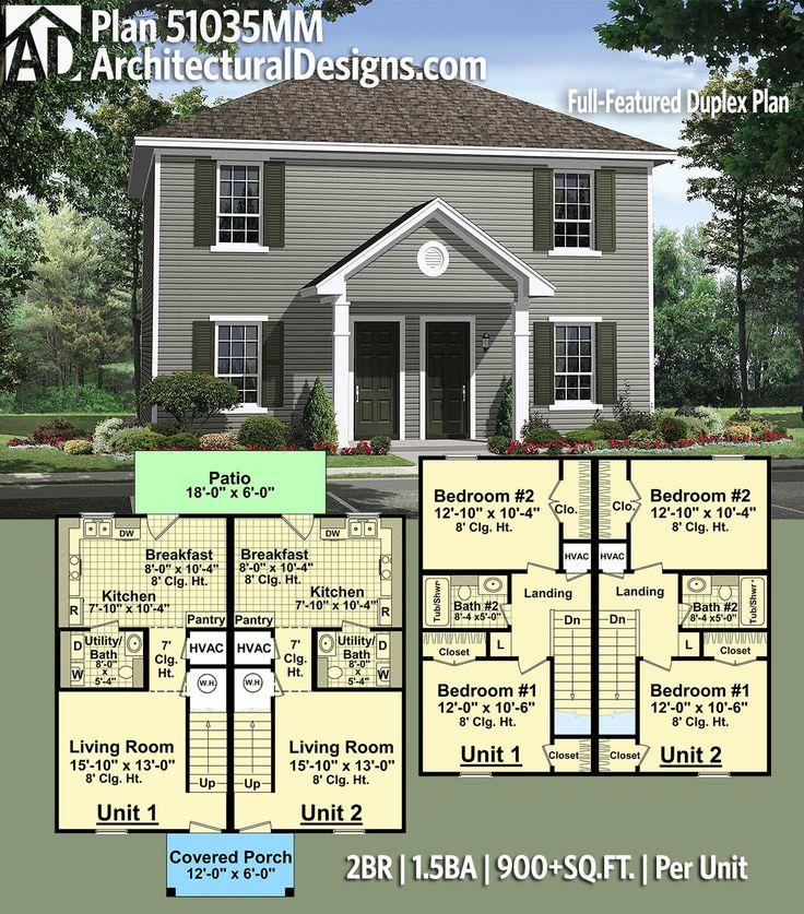 Plan 51035MM Full Featured Duplex Plan 13 best