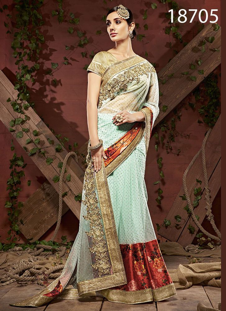 Bollywood Sari Pakistani Indian Designer Partywear Wedding Dress Ethnic Saree